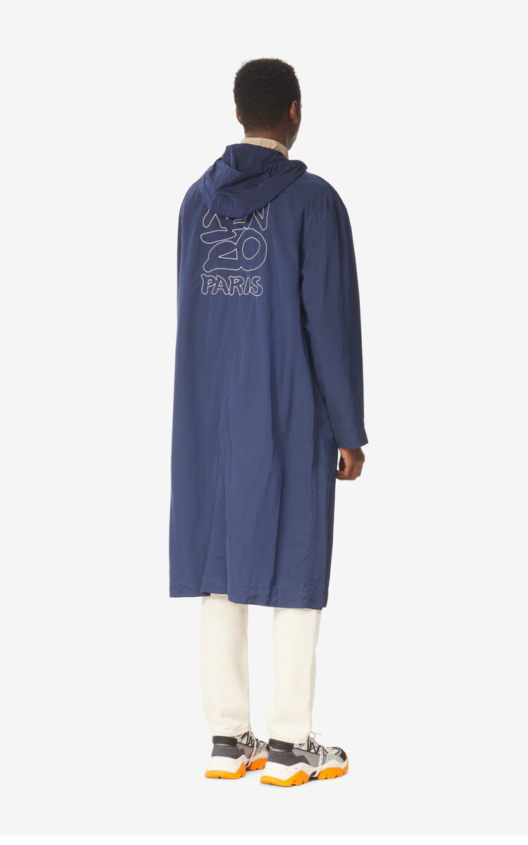 MIDNIGHT BLUE 'KENZO Kanji' rain jacket for men