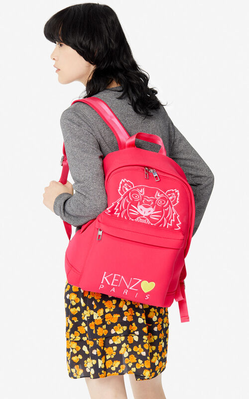 DEEP FUSCHIA Large Tiger backpack for men KENZO
