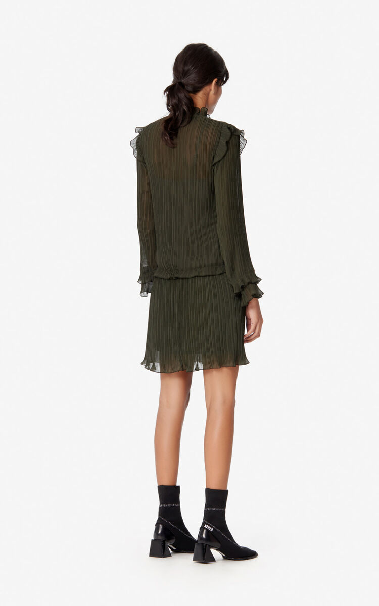 DARK KHAKI Frilled dress for women KENZO