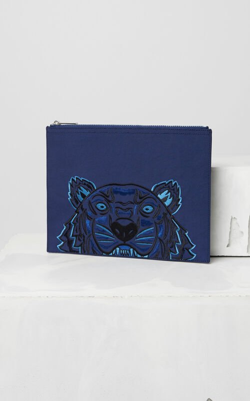 NAVY BLUE Tiger Canvas Clutch for men KENZO
