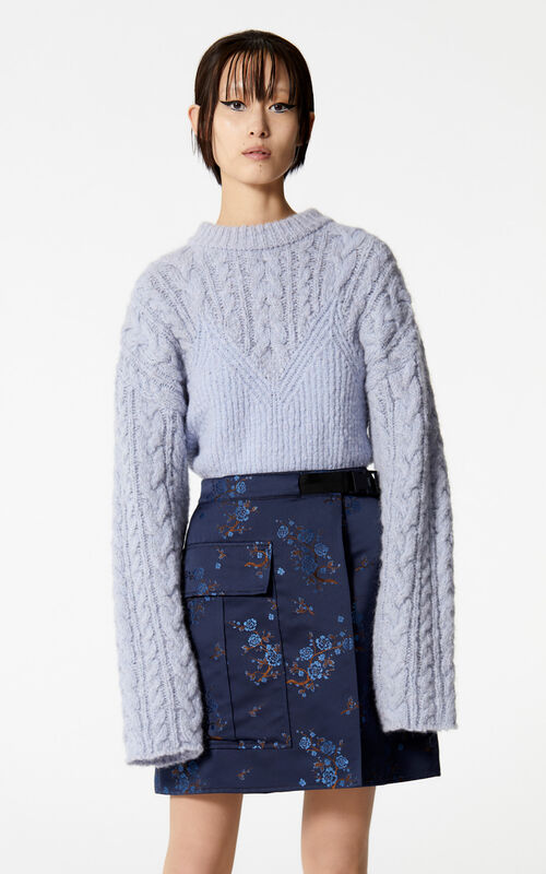 NAVY BLUE 'Cheongsam Flower' wrap skirt for women KENZO