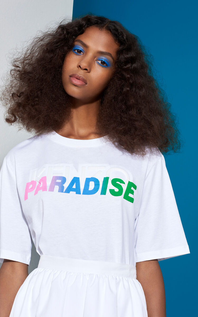 WHITE 'Paradise' Slogan T-shirt for global.none KENZO