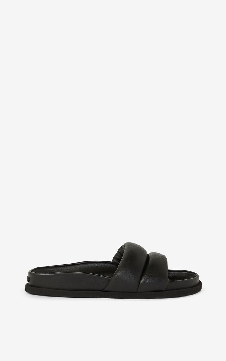 BLACK Leather Komfy mules for unisex KENZO