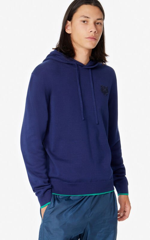 MIDNIGHT BLUE Tiger hooded jumper for women KENZO