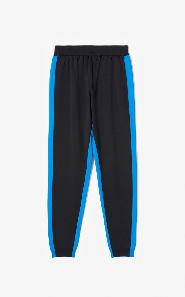 BLACK Two-tone knit jogging trousers for women KENZO