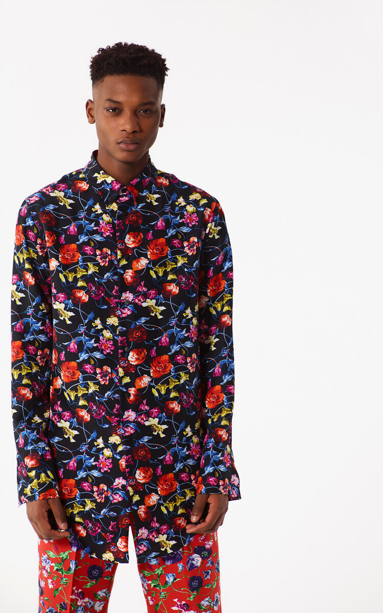 BLACK Oversized 'Wild Flowers' Shirt for men KENZO