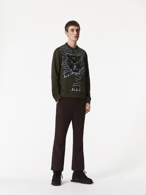DARK KHAKI Geo Tiger Sweatshirt for men KENZO