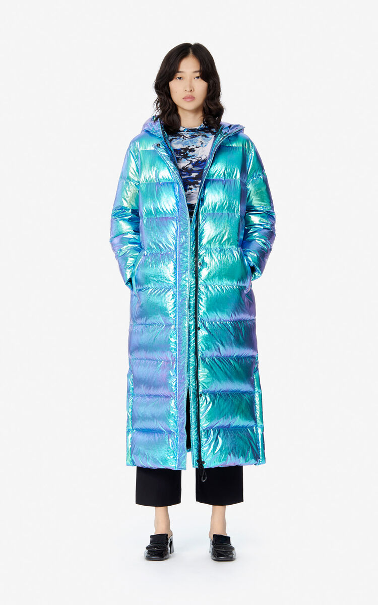 TURQUOISE 'Holiday Capsule' long quilted jacket for women KENZO