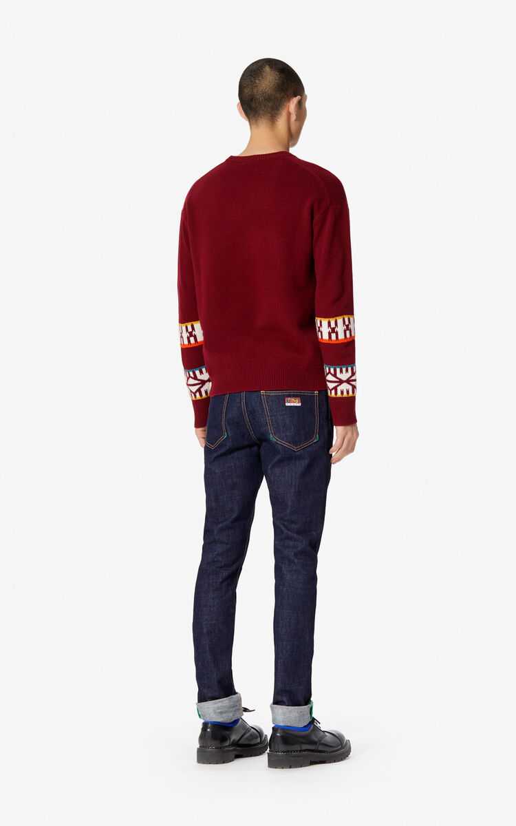 NAVY BLUE Turned-up slim-fit jeans for men KENZO