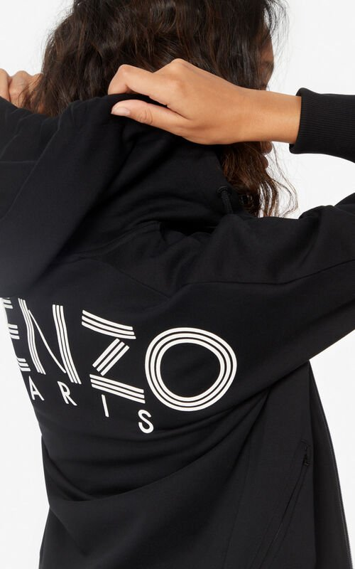BLACK KENZO Logo zipped hooded sweatshirt for women