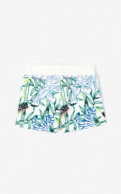 WHITE 'Disco Jungle' jogging shorts for women KENZO