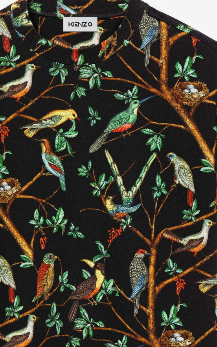 BLACK 'Tapestry of birds' casual t-shirt for women KENZO