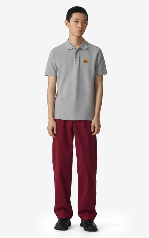 PEARL GREY Tiger Crest polo for men KENZO