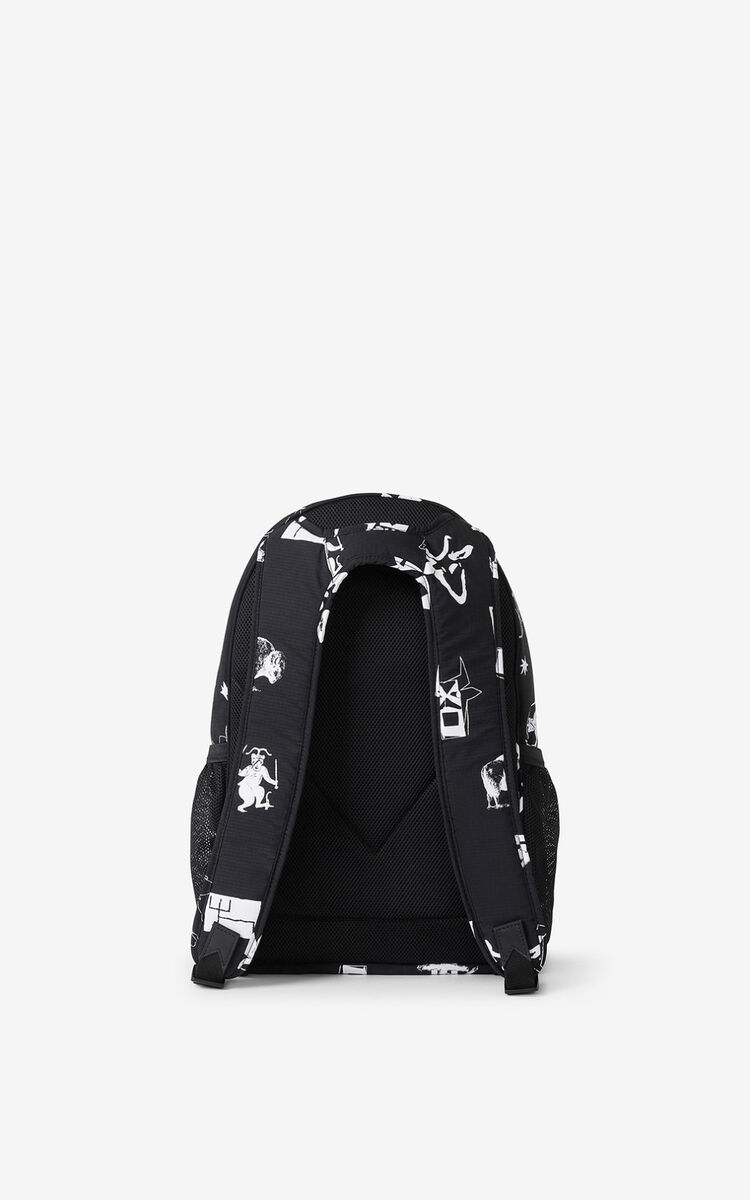 BLACK 'Sign & Symbol' backpack for unisex KENZO