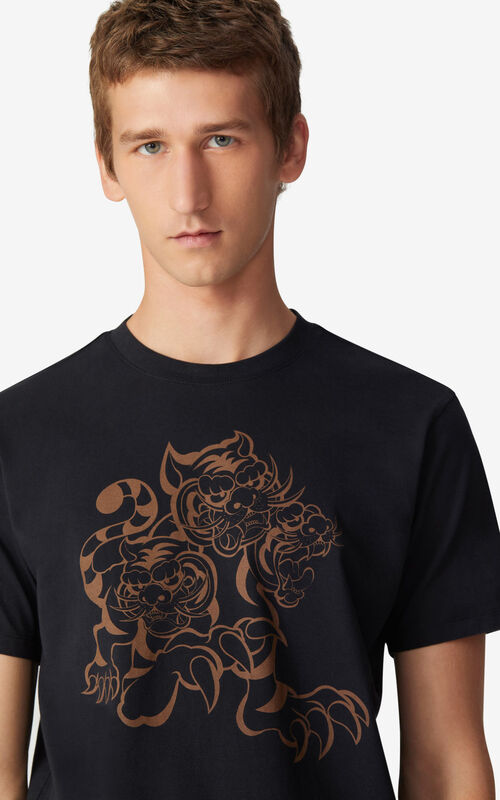 BLACK KENZO x KANSAIYAMAMOTO 'Three Tigers' T-shirt for men