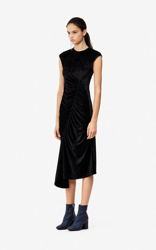 BLACK Frilled velvet dress 'Holiday Capsule' for women KENZO