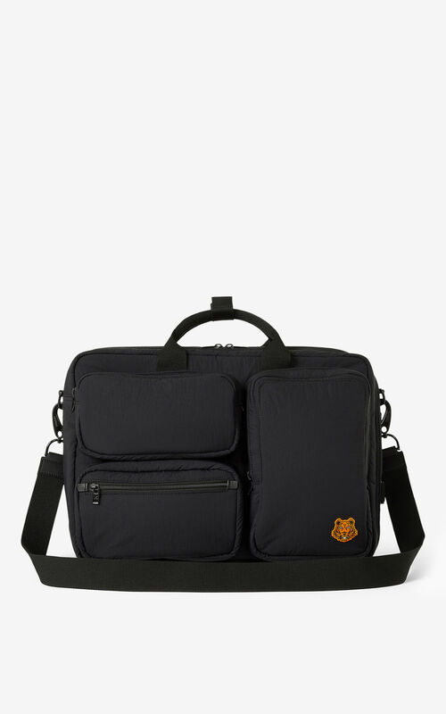 BLACK Tiger Crest utilitarian backpack for unisex KENZO