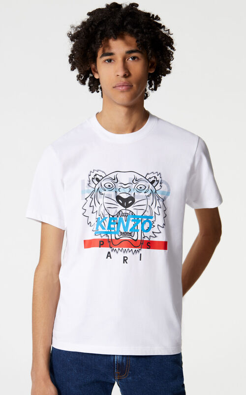 WHITE 'Hyper Tiger' T-shirt for men KENZO