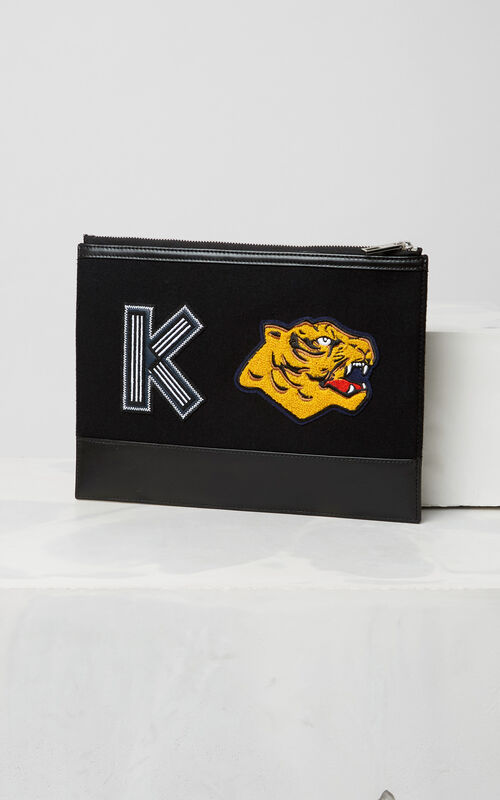 BLACK 'Varsity' Clutch for women KENZO