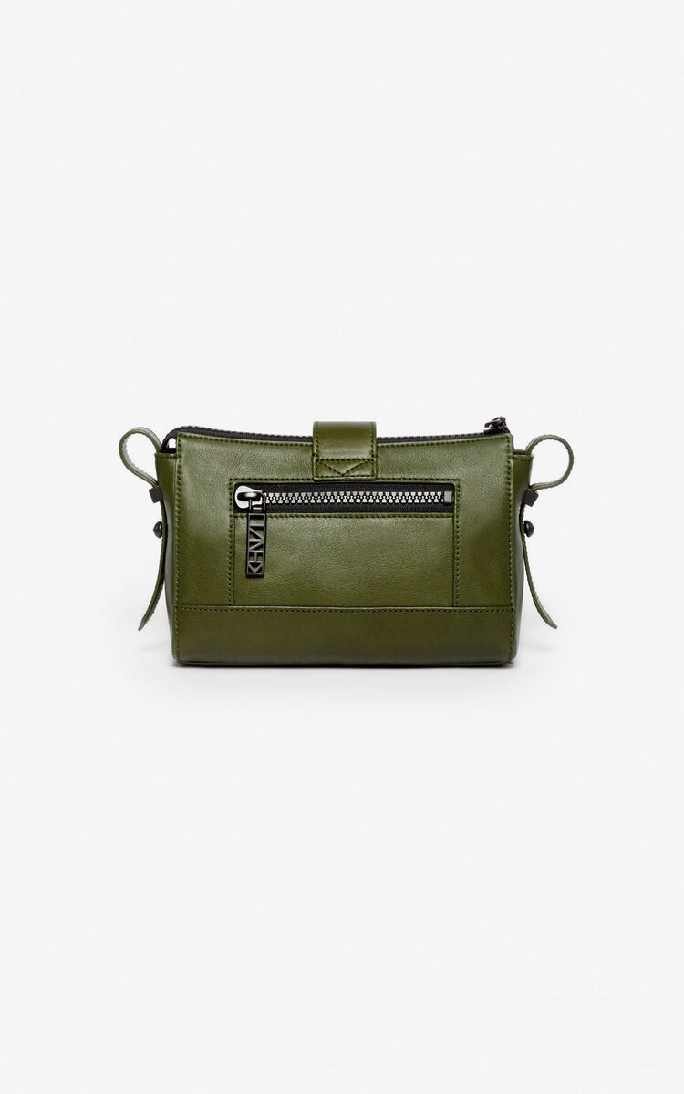 DARK KHAKI Mini Kalifornia Sport leather bag for unisex KENZO