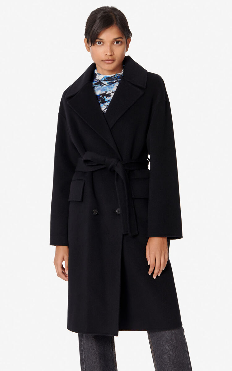 BLACK Wool and cashmere coat for women KENZO