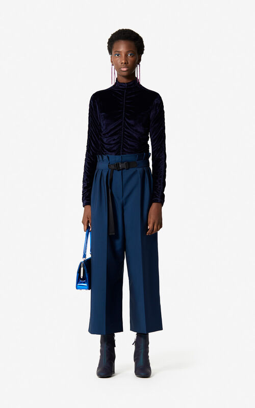 MIDNIGHT BLUE Velvet roll neck top 'Holiday Capsule' for women KENZO