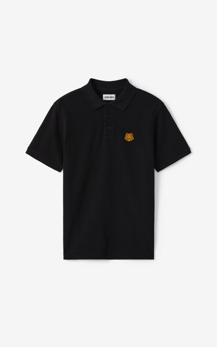 BLACK Tiger Crest polo for women KENZO