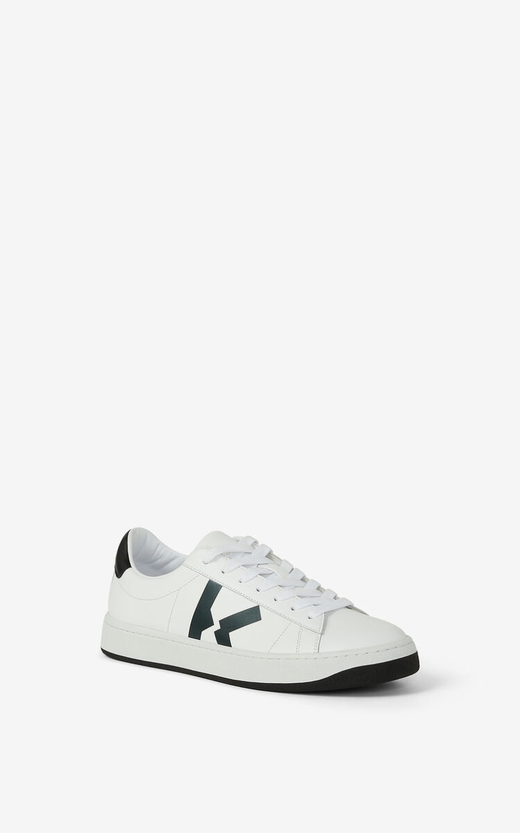 WHITE Leather KENZO Kourt K Logo sneakers for men