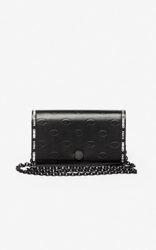 BLACK Blink Eye chain wallet for unisex KENZO