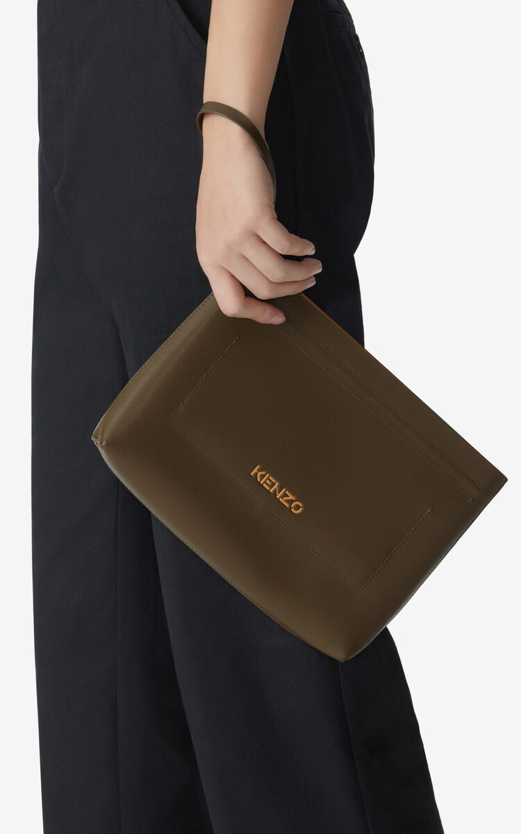 KHAKI KENZO Cadet gusseted leather clutch  for men