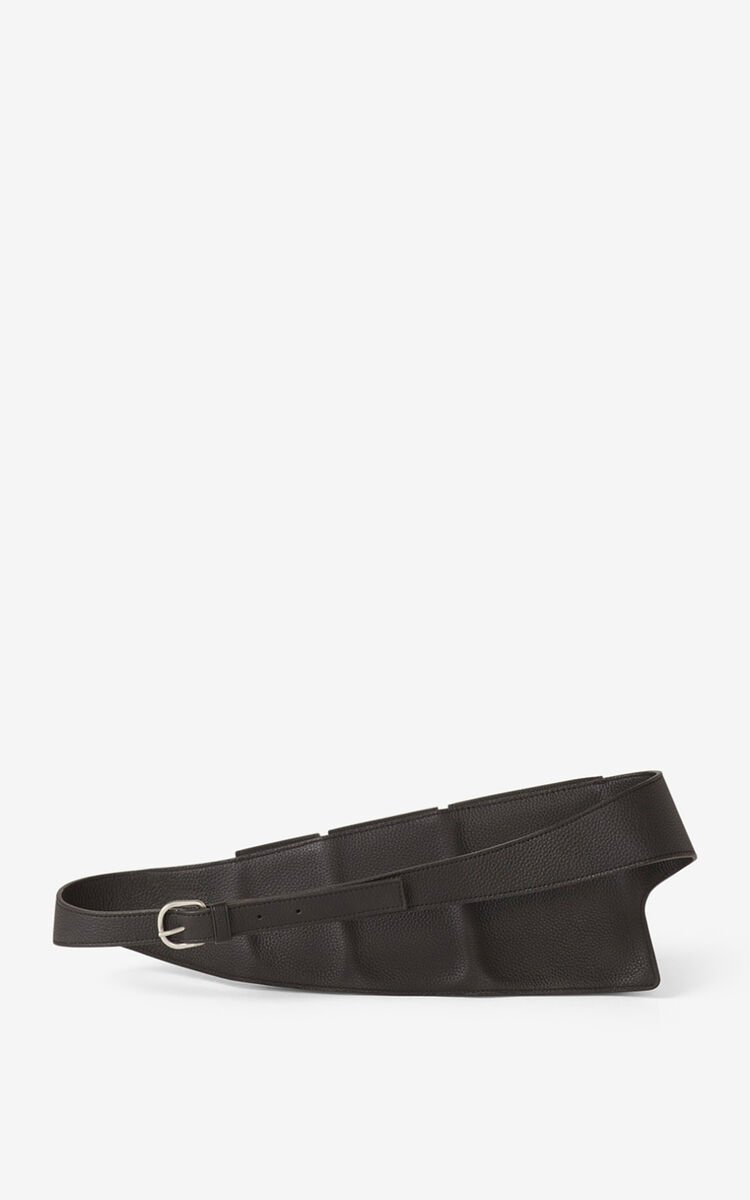 BLACK KENZO Onda leather utility belt for unisex