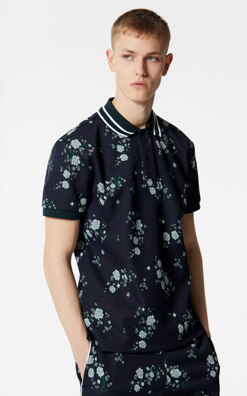 NAVY BLUE 'Cheongsam Flower' polo shirt for men KENZO