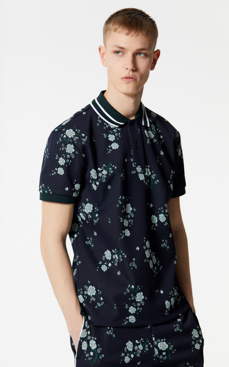 NAVY BLUE 'Cheongsam Flower' regular fit polo shirt for men KENZO