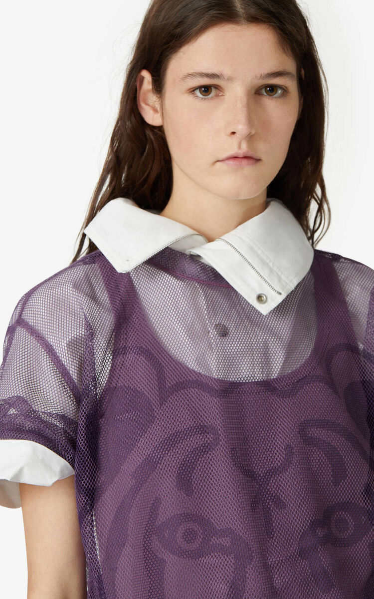 BLACKCURRANT K-Tiger 2-in-1 oversize T-shirt for women KENZO