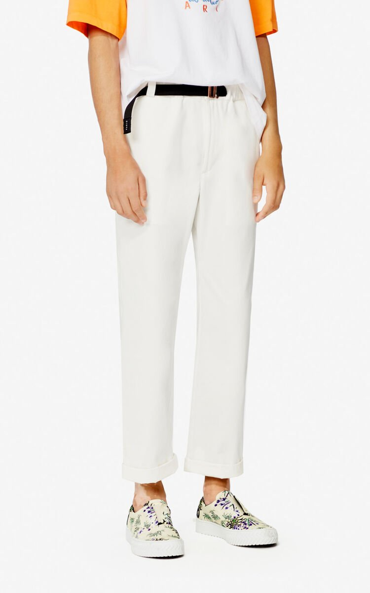 OFF WHITE Belted straight-cut trousers for men KENZO