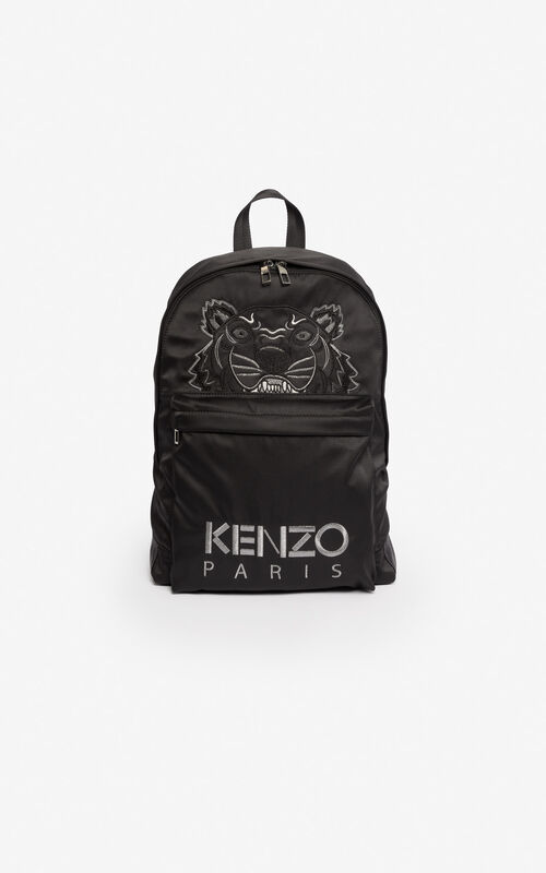 BLACK Large satin Tiger backpack 'Holiday Capsule' for unisex KENZO