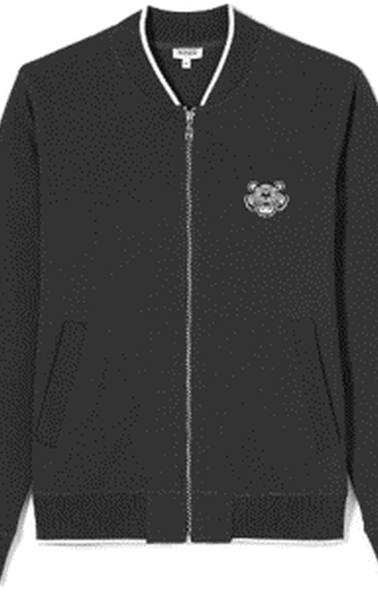 BLACK Zipped Sweatshirt with Tiger Crest for men KENZO