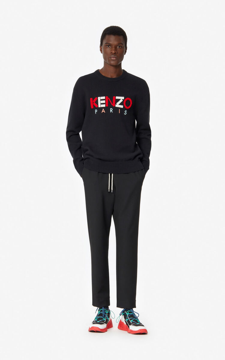 BLACK KENZO Paris wool jumper  for men