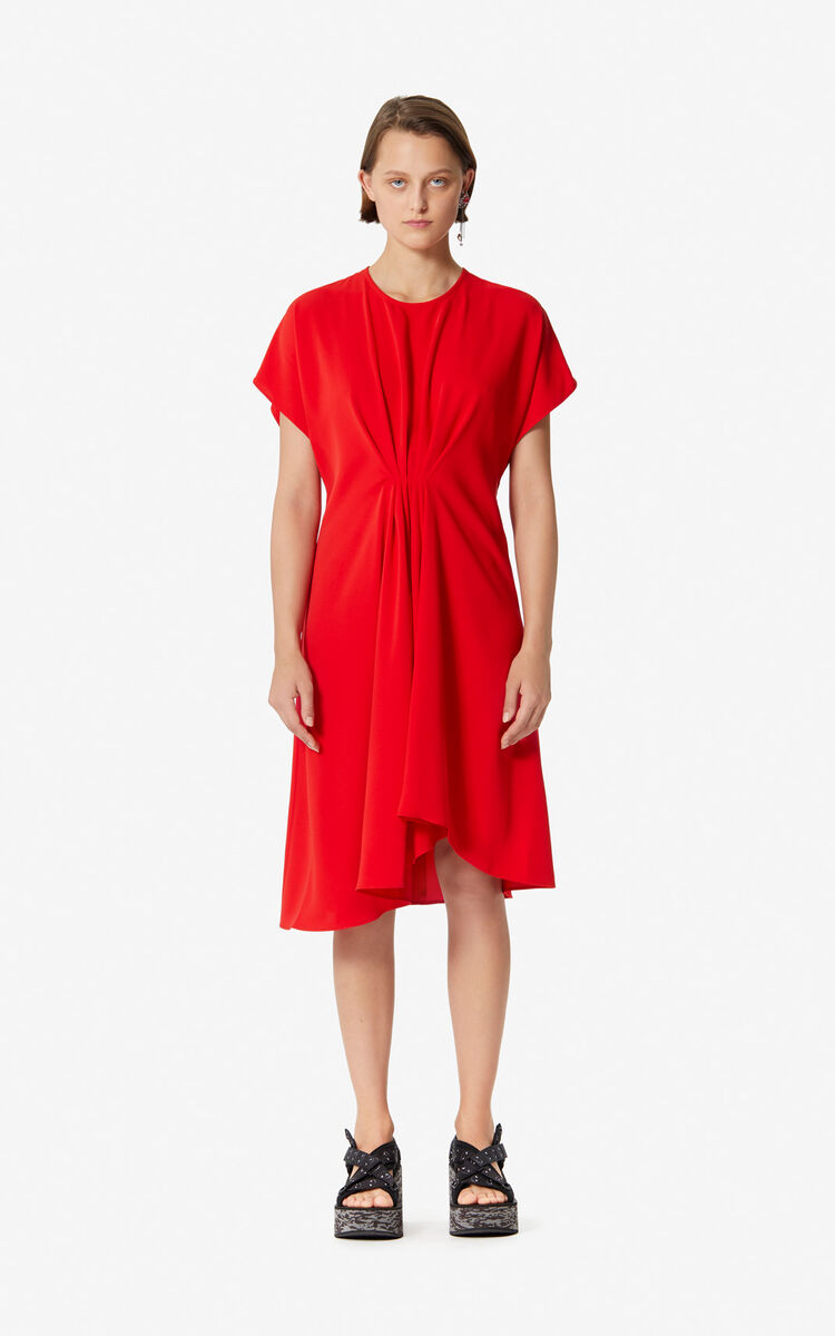 MEDIUM RED Asymmetric dress with draped effect for women KENZO