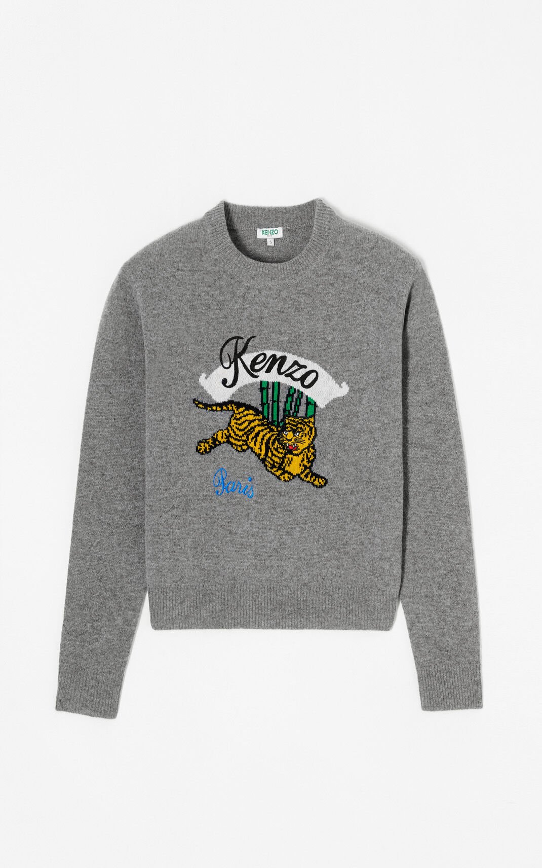 DOVE GREY 'Bamboo Tiger' boxy jumper for women KENZO