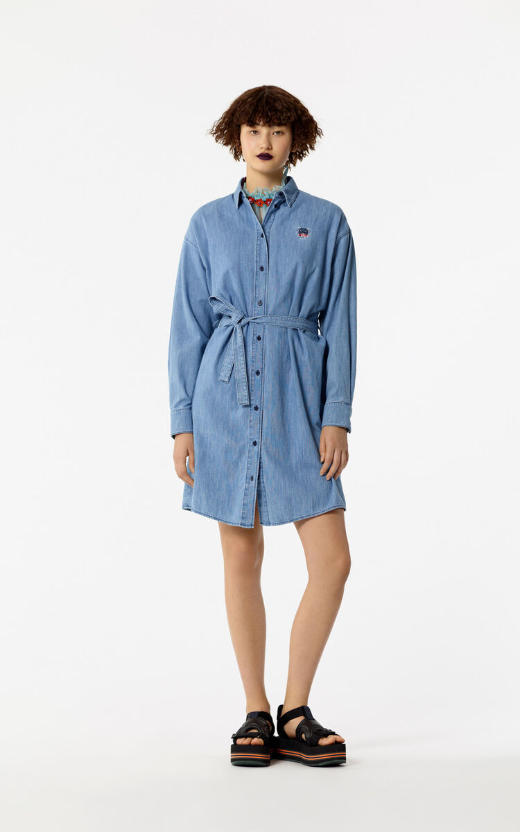 NAVY BLUE Denim Tiger dress shirt for women KENZO