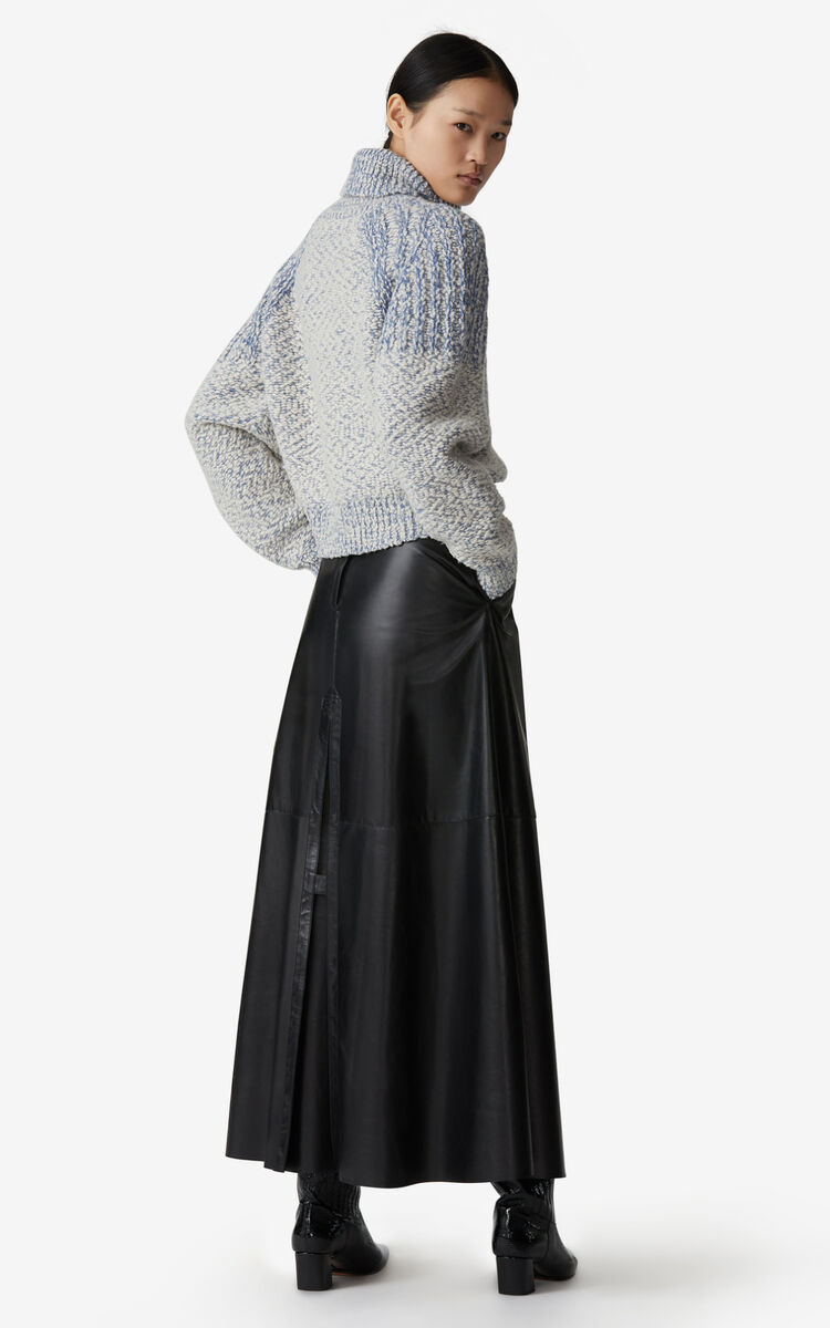 BLACK Long leather skirt for women KENZO