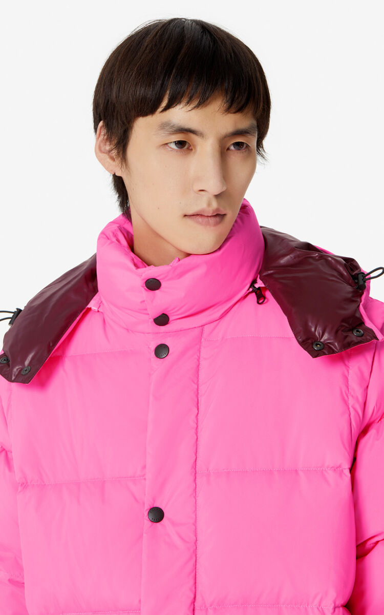 DEEP FUSCHIA Long 2-in-1 'Golden Bamboo' puffer jacket for men KENZO