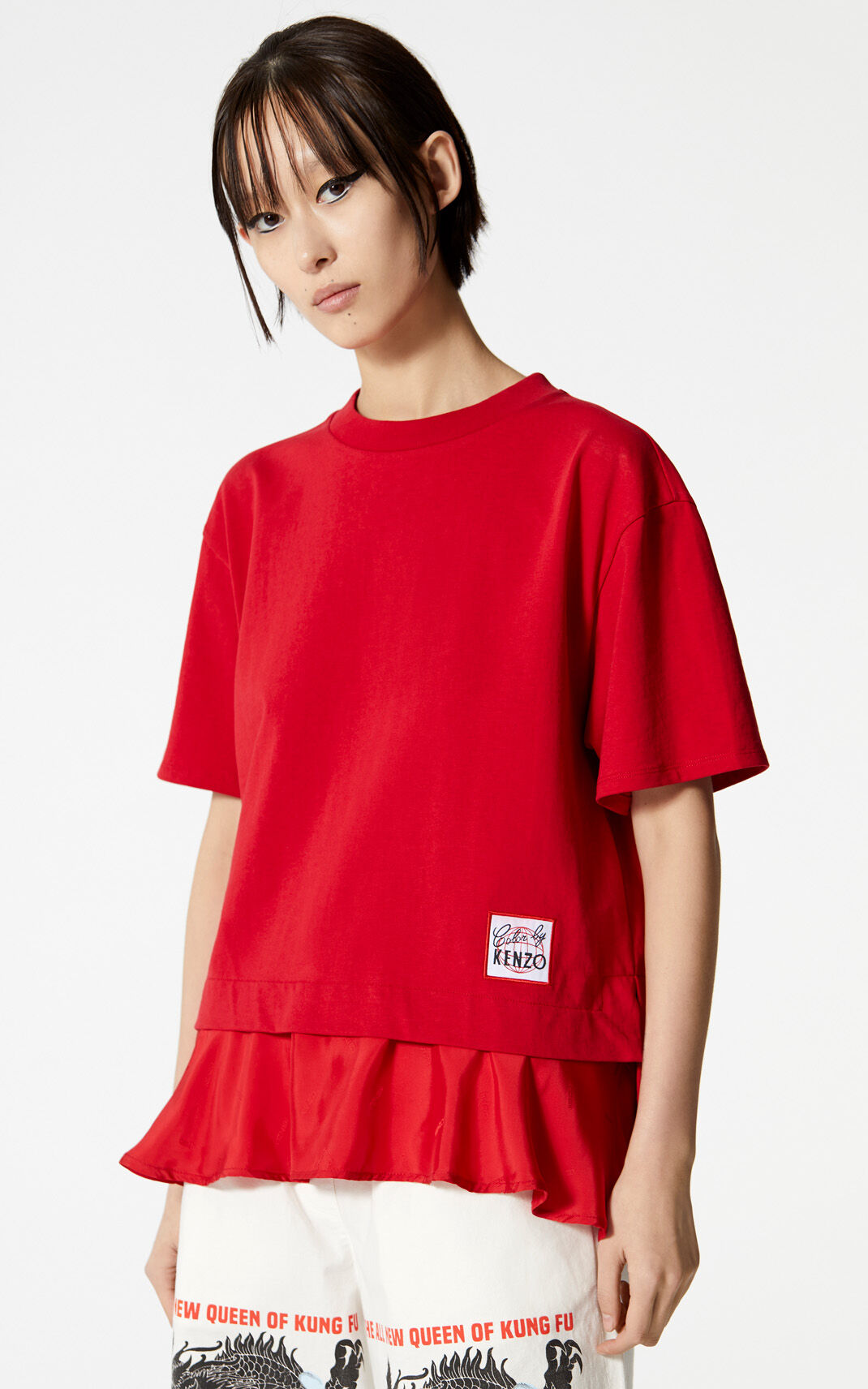 MEDIUM RED Bi-material 'Color by KENZO' top for women