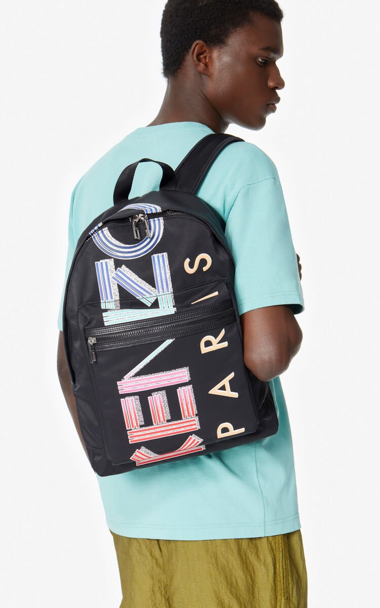 BLACK Large KENZO Logo rucksack for unisex