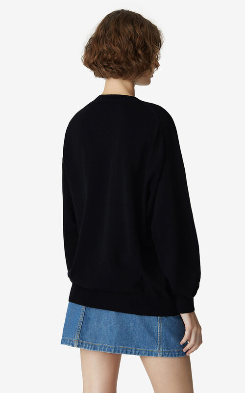 BLACK K-Tiger loose jumper for women KENZO