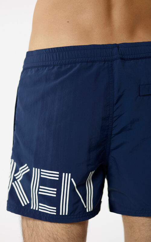 NAVY BLUE KENZO logo swimming trunks for men