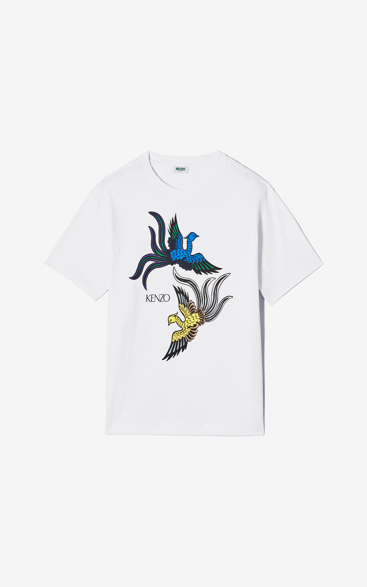 WHITE 'Flying Phoenix' T-shirt for men KENZO