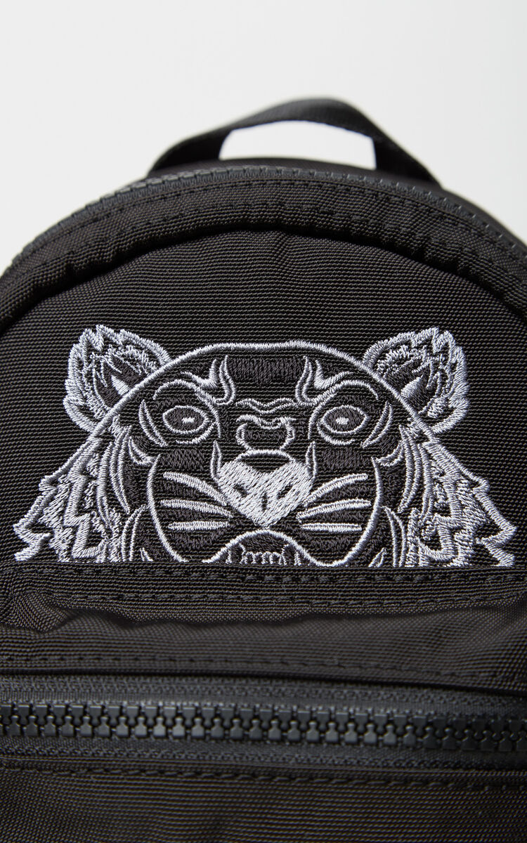 BLACK Mini Tiger Canvas backpack for women KENZO