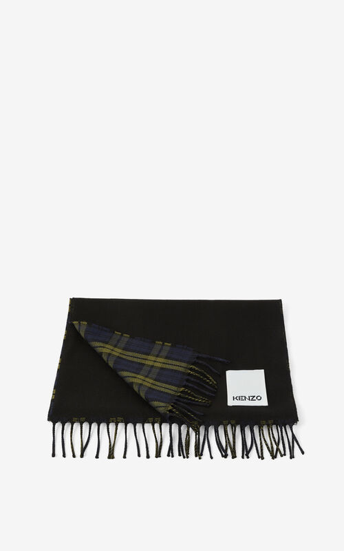 KHAKI Gradient wool scarf with fringe for unisex KENZO